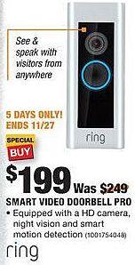 Home Depot Black Friday: Ring Smart Video Doorbell Pro for $199.00