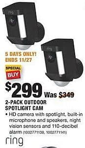 Home Depot Black Friday: Ring 2-Pack Outdoor Spotlight Cam for $299.00