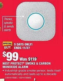 Home Depot Black Friday: Nest Protect Smoke & Carbon Monoxide Alarm for $99.00