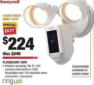 Home Depot Black Friday: Ring LED Flightlight Cam for $224.00