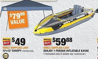 Home Depot Black Friday: Sunjoy 1-person Inflatable Kayak for $59.88