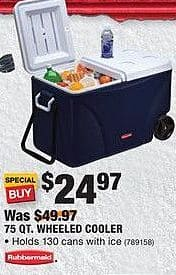 Home Depot Black Friday: Rubbermaid 75-qt. Wheeled Cooler for $24.97