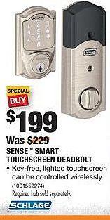 Home Depot Black Friday: Schlage Sense Smart Touchscreen Deadbolt for $199.00