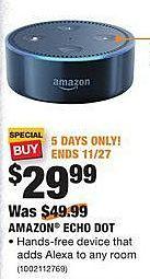 Home Depot Black Friday: Amazon Echo Dot for $29.99