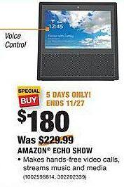 Home Depot Black Friday: Amazon Echo Show for $180.00