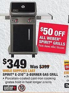Home Depot Black Friday: Weber Spirit E-210 2-Burner Gas Grill for $349.00