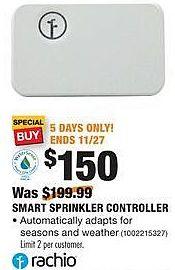 Home Depot Black Friday: Rachio Smart Sprinkler Controller for $150.00