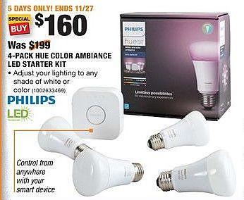 Home Depot Black Friday: Philips 4-Pack HUE Color Ambiance LED Starter Kit for $160.00
