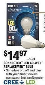 Home Depot Black Friday: CREE Connected LED 60w Replacement Bulb for $14.97