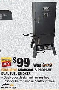 Home Depot Black Friday: Masterbuilt Charcoal & Propane Dual Fuel Smoker for $99.00