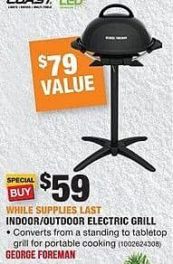 Home Depot Black Friday: George Foreman Indoor/Outdoor Electric Grill for $59.00
