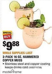 Home Depot Black Friday: Modern Home 2-pk. 16-oz. Hammered Copper Mugs for $9.88