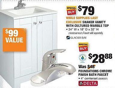 Home Depot Black Friday: Glacier Bay Shaker Vanity w/ Cultured Marble Top for $79.00