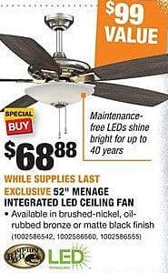 """Home Depot Black Friday: Hampton Bay 52"""" Menage Integrated LED Ceiling Fan for $68.88"""