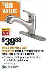 Home Depot Black Friday: Glacier Bay Carla Stainless Steel Pull-Out Kitchen Faucet for $39.88