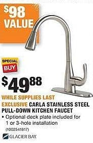 Home Depot Black Friday: Glacier Bay Carla Stainless Steel Pull-Down Kitchen Faucet for $49.88
