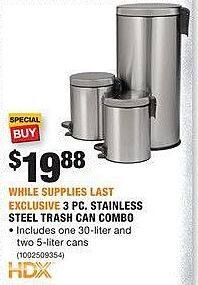 Home Depot Black Friday: HDX 3-pc Stainless Steel Trash Can Combo for $19.88
