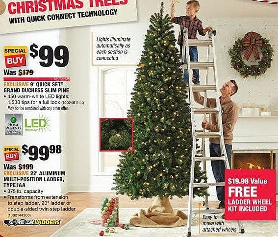 Home Depot Black Friday: 9-ft Quick Set Grand Duchess Slim Pine Christmas Tree for $99.00