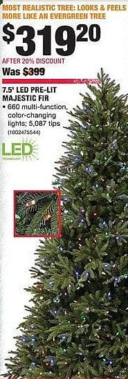 Home Depot Black Friday: 7.5-ft LED Pre-Lit Majestic Fir Christmas Tree for $319.20