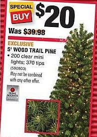 Home Depot Black Friday: Home Accents 5' Wood Trail Pine Christmas Tree for $20.00