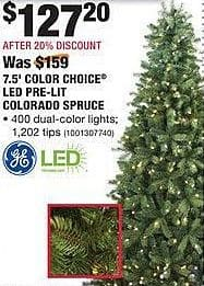 Home Depot Black Friday: GE 7.5-ft Color Choice LED Pre-Lit Colorado Spruce Christmas Tree for $127.20