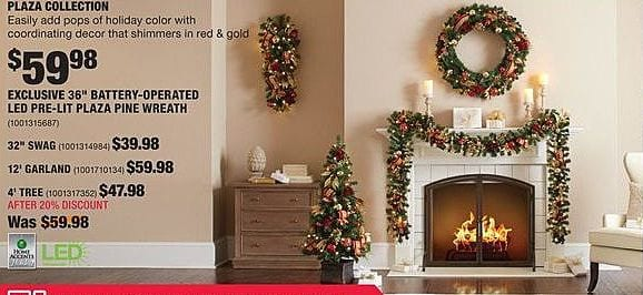 "Home Depot Black Friday: Home Accents Plaza Collection 36"" Battery-Operated LED Pre-Lit Pine Wreath for $59.98"