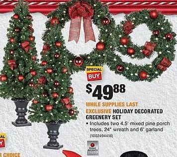 home depot black friday holiday decorated greenery set for 4988 - Is Home Depot Open On Christmas Eve