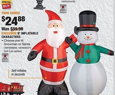 Home Depot Black Friday: 9' Inflatable Characters, Snowman or Santa for $24.88
