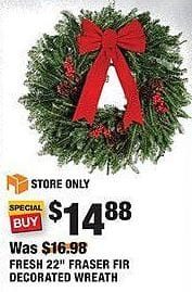 "Home Depot Black Friday: Fresh 22"" Fraser Fir Decorated Wreath for $14.88"