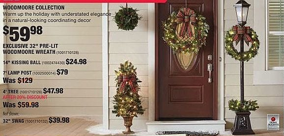 "Home Depot Black Friday: Home Accents Woodmore 32"" Pre-Lit Wreath for $59.98"
