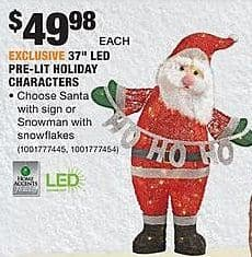 "Home Depot Black Friday: 37"" LED Pre-Lit Holiday Characters for $49.98"