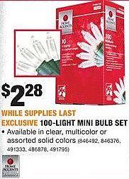 Home Depot Black Friday: 100-Light Mini Bulb Set for $2.28