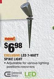 Home Depot Black Friday: Commercial Electric LED 7-Watt Spike Light for $6.98