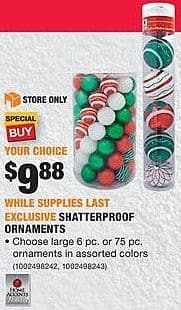 Home Depot Black Friday: Home Accents Shatterproof Ornaments for $9.88