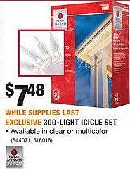 Home Depot Black Friday: 300-Light Icicle Set for $7.48