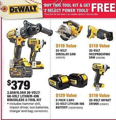 Home Depot Black Friday: DeWalt 2.0Ah/6.0Ah 20-Volt/60-Volt Lithium-Ion Brushless 2-Tool Kit + 2 Select Power Tools for $379.00