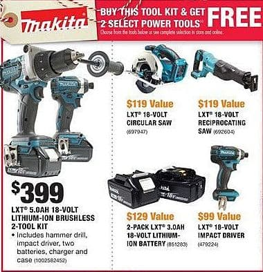 Home Depot Black Friday: Makita LXT 5.0Ah 18-Volt Lithium-Ion Brushless 2-Tool Kit + 2 Select Power Tools for $399.00
