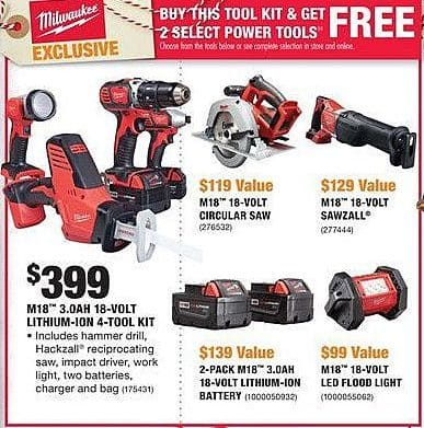 Home Depot Black Friday: Milwaukee M18 3.0Ah 18-Volt Lithium-Ion 4-Tool Kit + 2 Select Power Tools for $399.00
