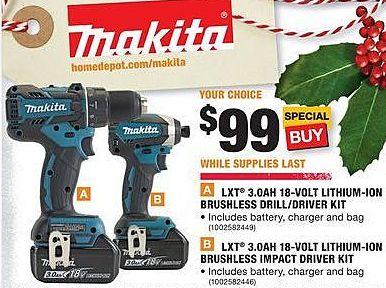Home Depot Black Friday Makita Lxt 3 0ah 18 Volt Lithium Ion