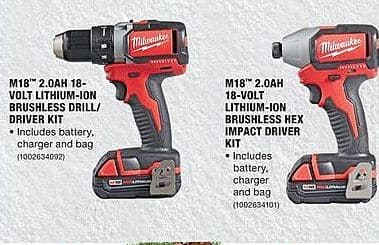 Home Depot Black Friday: Milwaukee M18 2.0Ah 18-Volt Lithium-Ion Brushless Drill/Driver Kit for $99.00