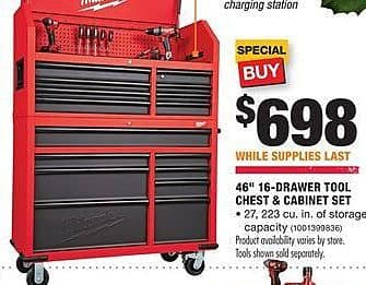"Home Depot Black Friday: Milwaukee 46"" 16-Drawer Tool Chest and Cabinet Set for $698.00"