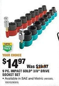 """Home Depot Black Friday: Impact 9pc. Gold 3/8"""" Drive Socket Set for $14.97"""