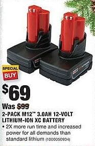 Home Depot Black Friday: Milwaukee 2-Pack M12 3.0Ah 12-Volt Lithium-Ion XC Battery for $69.00