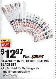 Home Depot Black Friday: Milwaukee Sawzall 16-pc Reciprocating Blade Set for $12.97