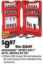 Home Depot Black Friday: Milwaukee Shockwave Impact Duty 40-pc Driving Bit Set for $9.97