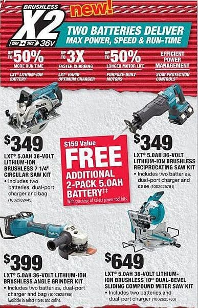 "Home Depot Black Friday: LXT 5.0AH 36-Volt Lithium-ION Brushless 7 1/4"" Circular Saw Kit + Additional 2-Pack 5.0AH Battery for $349.00"