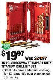 Home Depot Black Friday: Milwaukee 15-pc Shockwave Impact Duty Titanium Drill Bit Set for $19.97