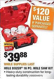 Home Depot Black Friday: Milwaukee Hole Dozer 16-pc Hole Saw Kit for $39.88