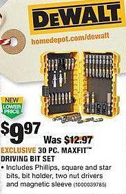 Home Depot Black Friday: DeWalt 30-pc Maxfit Driving Bit Set for $9.97