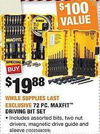 Home Depot Black Friday: DeWalt 72-pc Maxfit Driving Bit Set for $19.88